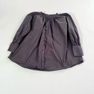 Zara Tops | black button tie front poplin shirt